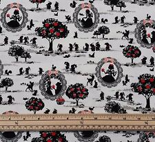 Kokka Japanese Fabric - Snow White and Friends - White - 100% Oxford Cotton
