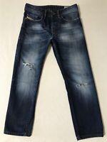 DIESEL Men's Jeans 29 X 27 BUSTER Regular Slim Tapered DESTROYED Dark Wash 0831Q