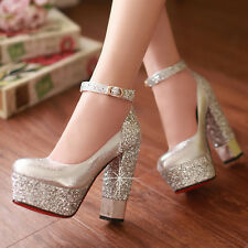 women glitter ankle strap wedge wedding bridal party prom heels club shoes