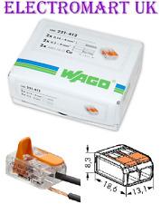 100 221-412 GENUINE WAGO 2 WAY SPRING LEVER CABLE WIRE TERMINAL CONNECTOR BLOCK