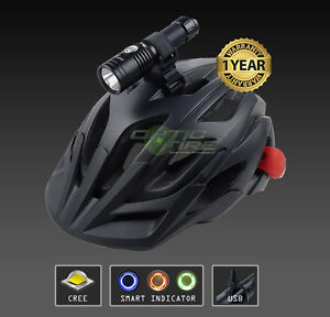 Opticfire® CREE LED USB Smart cycle helmet mount lamp bike head lighttorch