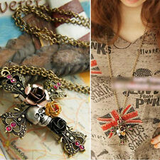 Mainstreams Sweaters Long Chain Jewelry Aantiquated Flowers Skull Head Necklace