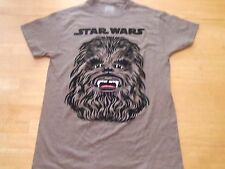 STAR WARS CHEWBACCA IN BLACK FELT GRAY T-SHIRT SIZE: SMALL **NEW**  **OFFICIAL**
