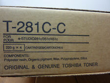 x4 Cartridges, Toshiba T-281C-C, Cyan Toner for e-Studio 281c, 351c, 451c