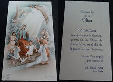 ESTAMPA HOLY CARD VIRGEN MARIA NIÑO JESUS Y ANGELES ANDACHTSBILD SANTINI  CC1446