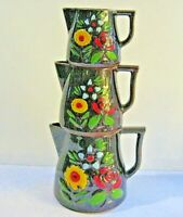 3 Redware Brown Glaze Pitchers Pottery Hand Painted Folk Art Measuring RETRO