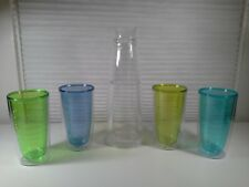 TJ Riley & Co Double Wall Carafe And 4 Tumblers, Assorted Colors