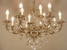 NICKEL CRYSTAL GLASS CHANDELIER CEILING SILVER LAMP 12 LIGHTS USED DECOR