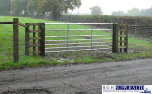 7 Bar Galvanised Metal Field Farm Equestrian Entrance Security Gate 3ft-16ft