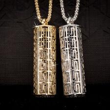 "Womens Men's Crystal Great Wall Pattern locket Silver Pendant 26"" Long Necklace"