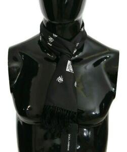 DOLCE & GABBANA Scarf Black Silk Crown Fringes Mens Wrap 130cm x 15cm RRP $340