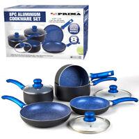 8PC COOKWARE NON STICK KITCHEN PAN SET BLUE SAUCEPAN FRYING PAN POT INDUCTION