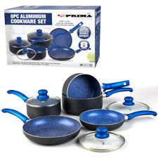 8PC COOKWARE NON STICK KITCHEN PAN SET BLUE SAUCEPAN FRYING PAN POT INDUCTION