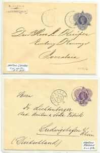 DUTCH INDIES NED INDIE-1909/10-- 2 x PS CV GR POSTMARKS - SvL 50 P. --F/VF