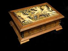Reuge Swiss Music Jewelry Box walnut Boys riding goat relief Anniversary Waltz