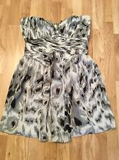 LIPSY Women's Strapless Grey Animal Print Party Tulip Dress (size UK14)