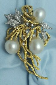 Elegant 18K Karat Two Tone Multi Tone Designer Brooch with Pearls & Diamonds