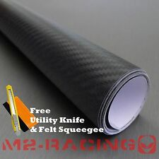 "*24""x60"" 3D BLACK Carbon Fiber Texture Vinyl Wrap Sticker Decal Film Sheet"