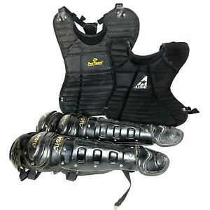 All-Star Catchers Gear Baseball Chest Protector CP22 Leg Guards Black LGW15DHS