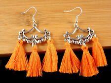 1 Pair of Orange Cotton Tassels Dangle Fashion Bohemian Earrings #1576