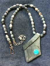 Jay King  DTR Eagle Eye Pendant Gray Turquoise Necklace Multi Color Hook Clasp