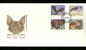Postal History Zambia FDC #466-469 animals flying mammals bats 1989