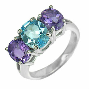 925 Sterling Silver Ring Jewelry White Gold Plated with Topaz Amethyst Size 8