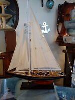 Segelboot Modell dunkles Deck 45x10x65 cm Segelyacht maritime Dekoration