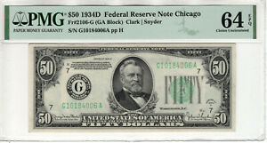 1934 D $50 FEDERAL RESERVE NOTE CHICAGO FR.2106-G PMG CHOICE UNC 64 EPQ (006A)