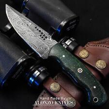 ALONZO USA CUSTOM HANDMADE DAMASCUS HUNTING  SKINNER KNIFE MICARTA HANDLE 15897