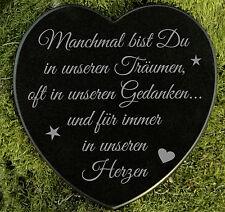 Grabherz Gedenkstein Grabschmuck Sternenkind Marmor in unseren Herzen 12,5 cm