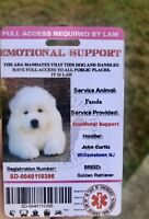 Pink EmotionalSupport Dog Card ID Assistance Animal Badge ADA ESA With Barcode