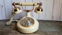 Vintage Western Electric French Style Rotary Phone Cream and Gold in Color