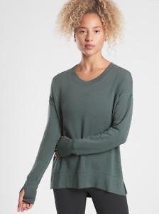 ATHLETA Coaster Luxe Sweatshirt Top M MEDIUM Bali Green | Soft! Yoga Shirt NWT