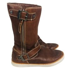 Ugg Womens Andra Winter Boots Brown Sheep Shearling Lined Buckle Zipper 8.5