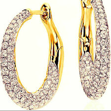 Pave 1.80 Cts Round Brilliant Cut Natural Diamonds Hoop Earrings In 18Karat Gold