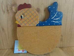 "Kitchen Message Board CHICKEN HEN 13"" x 12"" Cork Bulletin Wood Beige Blue"