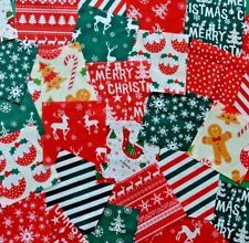 """50 x 4"""" CHRISTMAS FABRIC PATCHWORK SQUARES POLY COTTON RED & GREEN CRAFT PACK"""