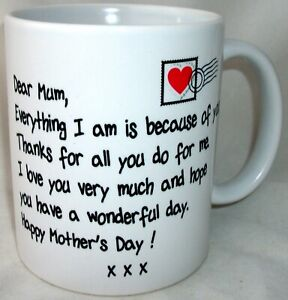 Mother's Day Letter Tea Coffee Mug Mother Mum Mummy Gift
