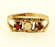 9Carat Yellow Gold Opal & Garnet Three-Stone Ring (Size K 1/2) 13x6mm