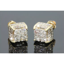 Created 18K yellow gold filled White Sapphire Brilliant Screwback Stud Earrings