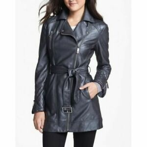Womens Zip-up Belted Genuine Real Leather Trench Coat
