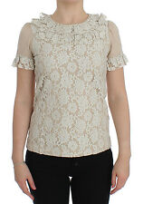 NEW DOLCE & GABBANA Beige Floral Lace Crewneck T-shirt Blouse IT40 / US6 /S