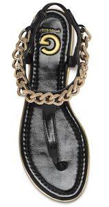 GUESS Ava Black Gold Chain-Trim T-Strap Thong Faux Leather Sandal