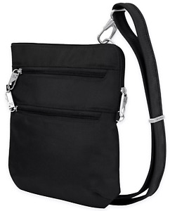 TRAVELON Women's 'ANTI-THEFT' Black CLASSIC SLIM DOUBLE ZIP CROSSBODY BAG - O/S