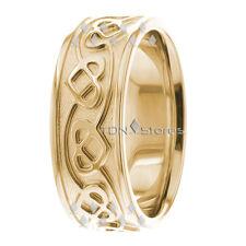 Solid Gold Celtic Heart Wedding Bands Mens Women Celtic Heart Wedding Rings Band