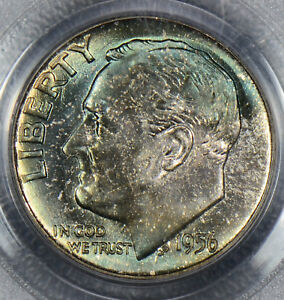 1956 MS67 silver PCGS MS67 roosevelt dime stunning blue toning PC0183 combine