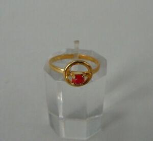 Neugablonz: Kleiner Ring Koralle Swarovski Elements - UNGETRAGEN (63580)