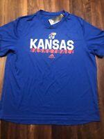 New Adidas Mens KU Kansas Jayhawks Short sleeve Shirt Size XL Blue Red