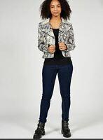 Helene Berman Women's Printed Biker Jacket Asymmetrical Zip long sleeve Size S